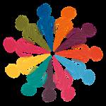 farbige Figuren im Kreis Füße aneinander Köpfe nach außen Zeichnung Pastell